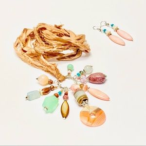 SUN PEACHY SWEET Assemblage Necklace & Earrings